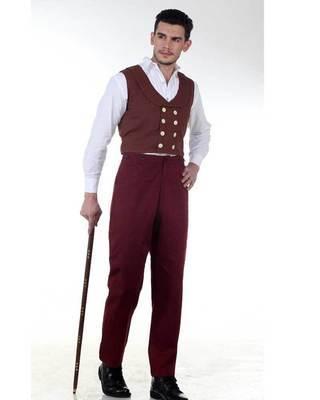 Canvas Classic Pants-Maroon