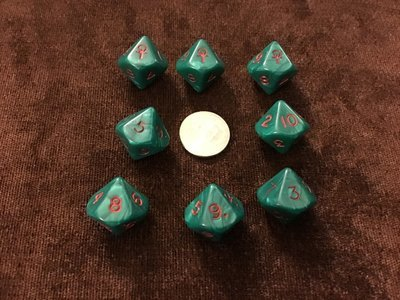 Green and Red Ankh D10 Die - 10 Sided Dice