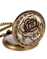 Steampunk Antique Case Elegant Engraved Rose Quartz Pocket Chain