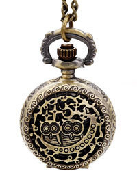 Two Small Owl Quartz Pocket Chain Watch (with Padded Box)