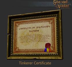 Tinkerer Certificate - Shroud of the Avatar