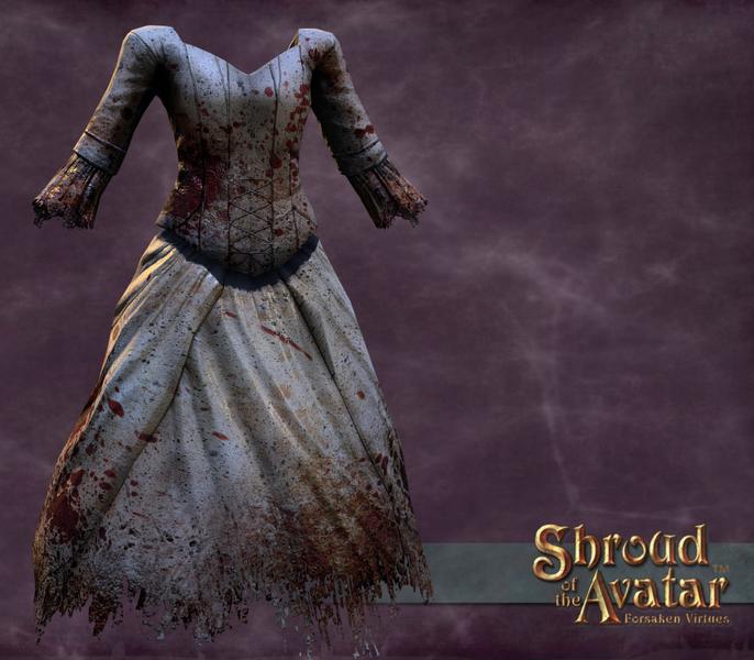 Torn and Tattered Wedding Set Female (Blouse, Skirt, Veil) - Shroud of the Avatar
