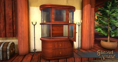 Oak & Glass Display Cabinet - Shroud of the Avatar