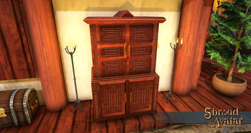 Ornate Oak Panel Wardrobe - Shroud of the Avatar