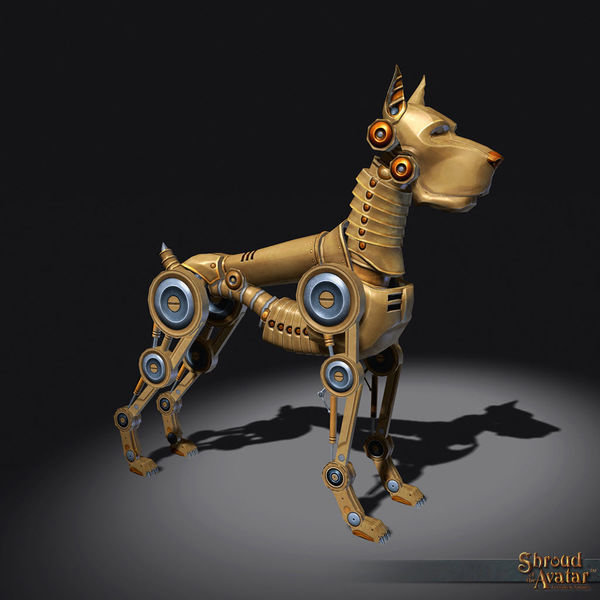Brass Clockwork Dog  Decoration Pet - Shroud of the Avatar