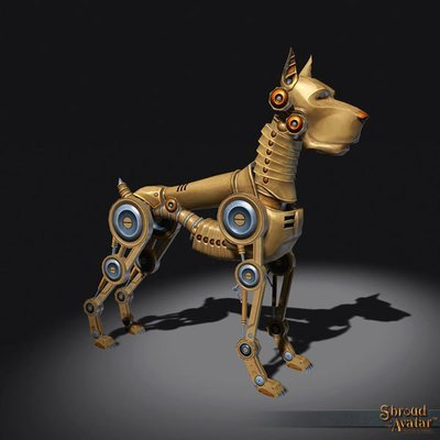 Brass Clockwork Dog  Decoration Pet - Shroud of the Avatar
