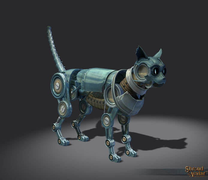 Silver Clockwork Cat Decoration Pet - Shroud of the Avatar