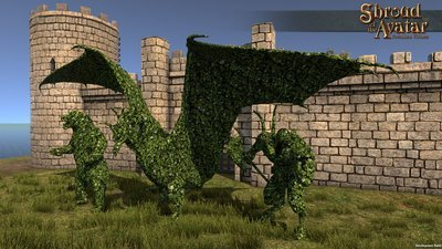 White Flower Topiary Dragon Statue (Village Lot Size) - Shroud of the Avatar