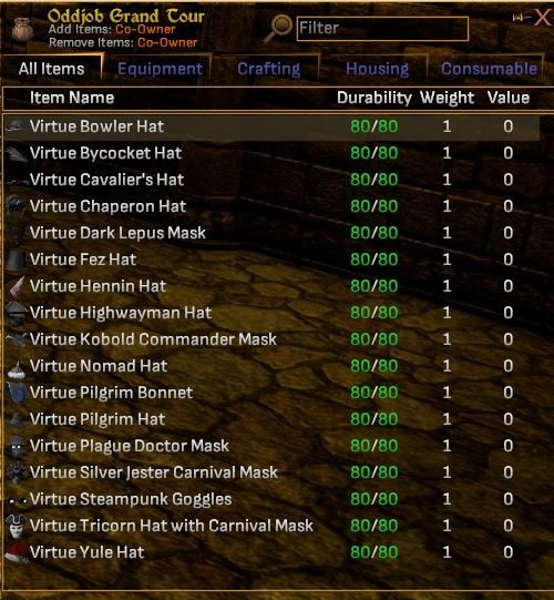 Full Grand Tour Virtue Hat Quest Set of 17 Hats - Shroud of the Avatar