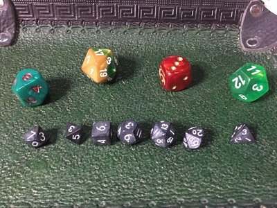 Gunmetal Black-White 10MM Mini Polyhedral 7-Die Roleplaying Dice Game Counters