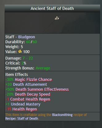 Ancient Staff of Death, Uncommon (Loot Drop, not Crafted) - Shroud of the Avatar