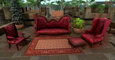 Vintage Red Velvet with Nailheads Arm Chair (NOT Vault) - Shroud of the Avatar