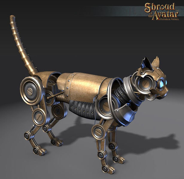 Brass Clockwork Cat Decoration Pet - Shroud of the Avatar