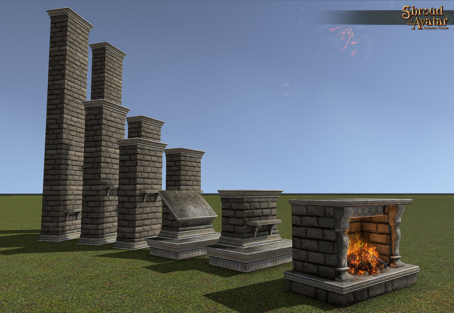 Large Ornate Stone Chimney Floor Extension - Shroud of the Avatar