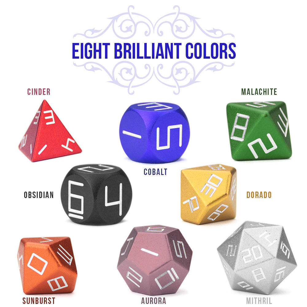High Precision Aluminum Polyhedrals Dice Sets - Higly Accurate
