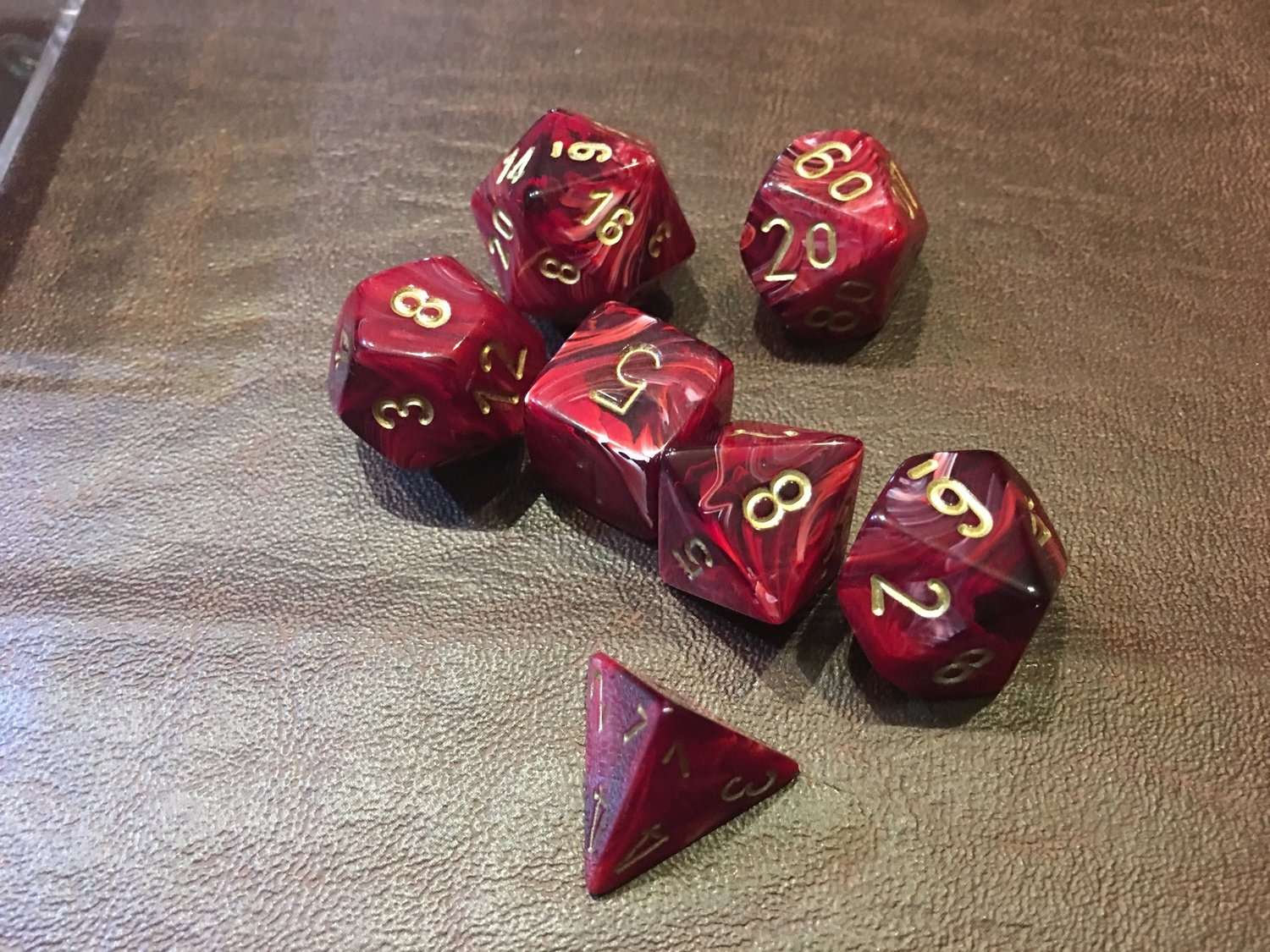 7 Die Dice Polyhedral Set - Vortex Burgundy with Gold