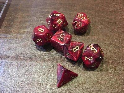 7 Die Dice Polyhedral Set - Vortex Burgundy with Gold