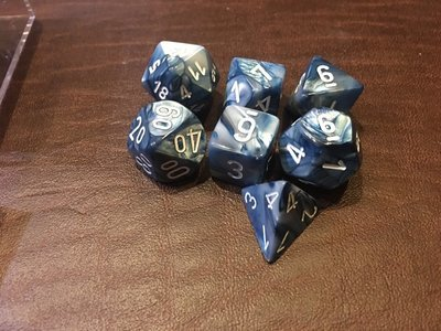 7 Die Dice Polyhedral Set - Lustrous Slate with White