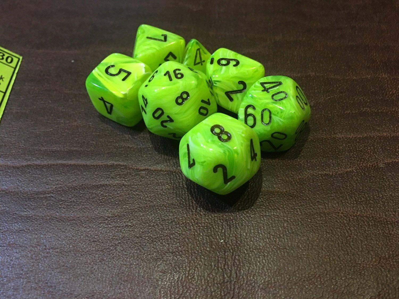 7 Die Dice Polyhedral Set - Vortex Bright Green with Black