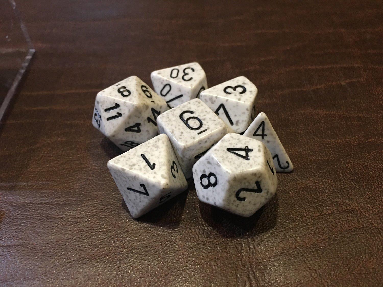 7 Die Dice Polyhedral Set - Speckled Arctic Camo RPG Tabletop Games