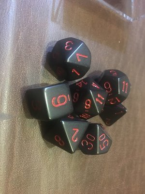 7 Die Dice Polyhedral Set - Opaque Black with Red