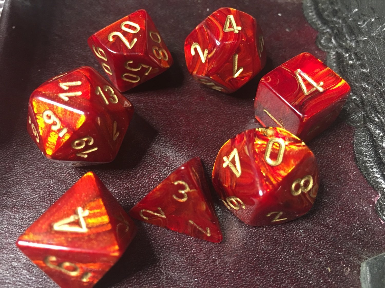 7 Die Dice Polyhedral Set - Scarab Scarlet with Gold