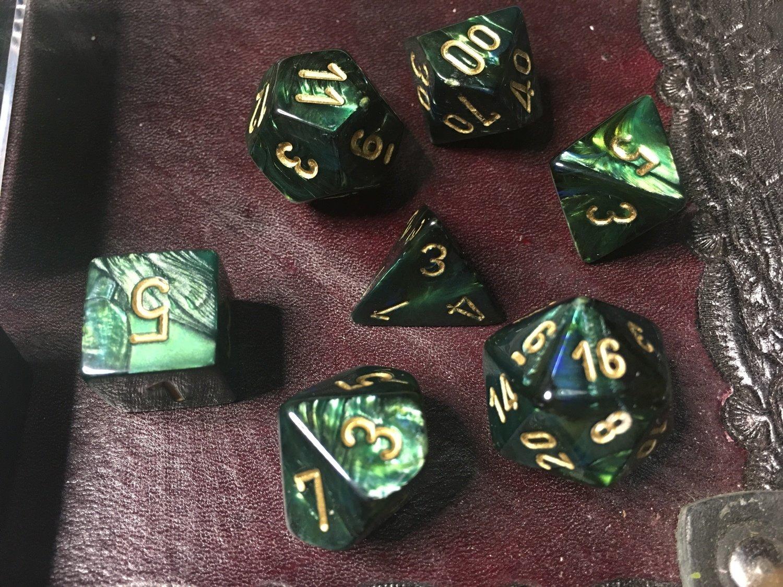 7 Die Dice Polyhedral Set - Scarab Jade with Gold