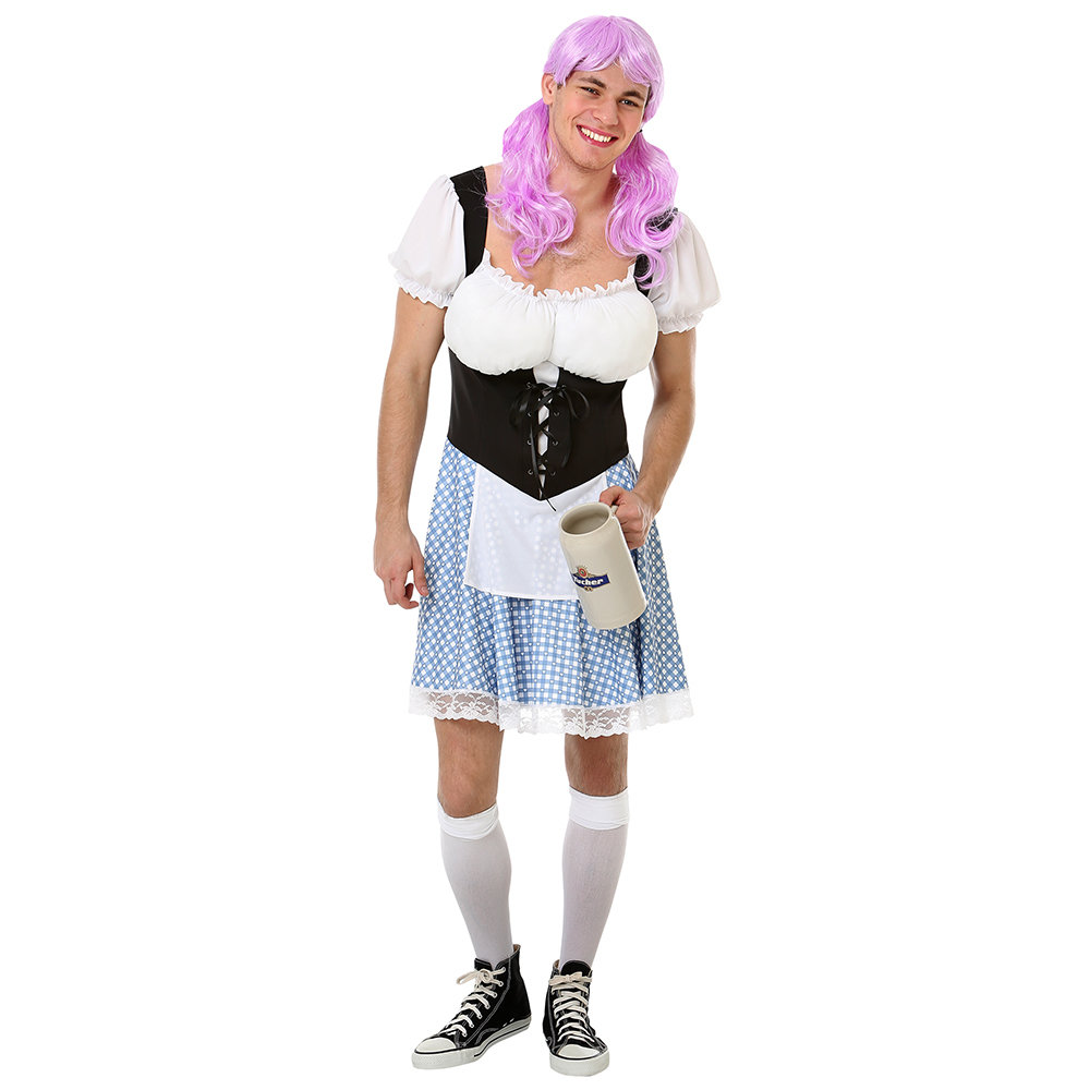 Men's Busty Bavarian Halloween Costume, Large
