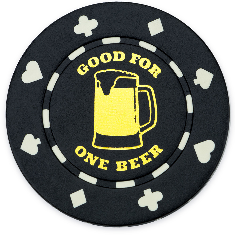 "25 Black ""1 Beer"" Bar Token Chips"