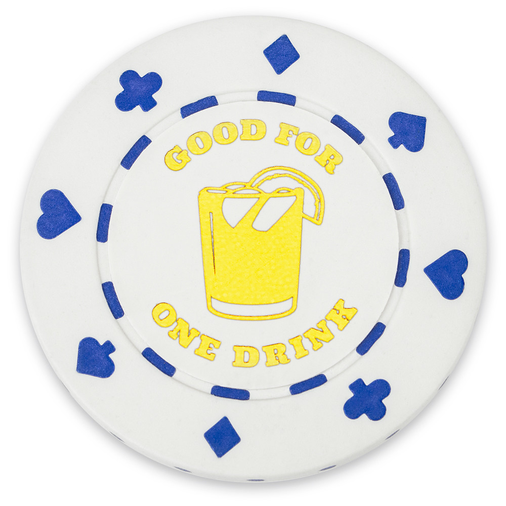 "25 White ""1 Drink"" Bar Token Chips"