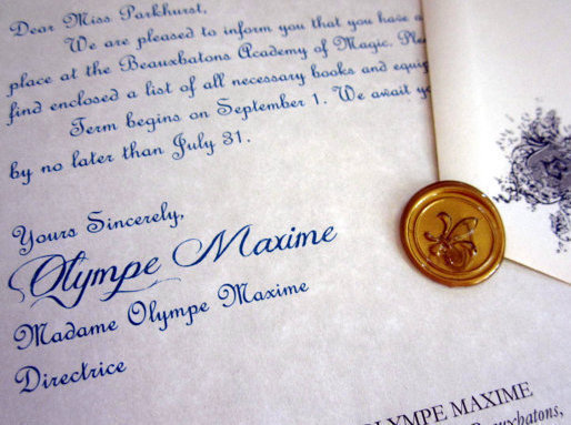Wizarding Acceptance Letter (French School)