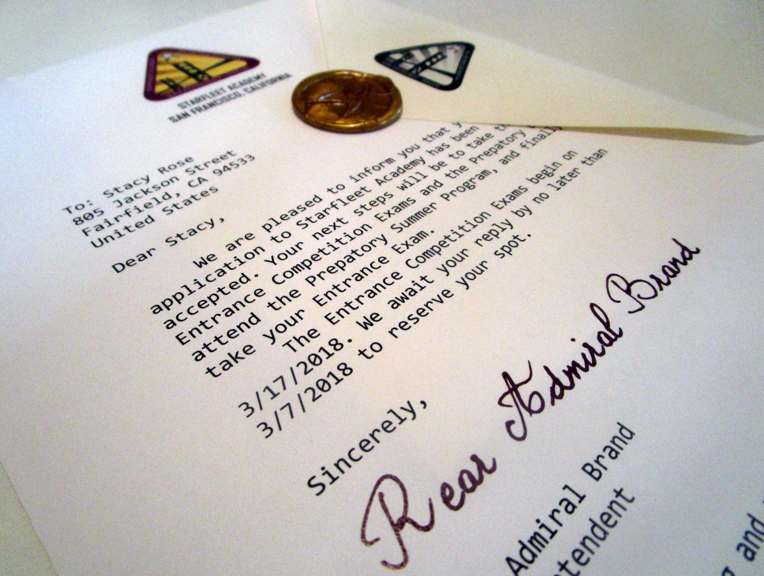 Space Armada Academy Acceptance Letter
