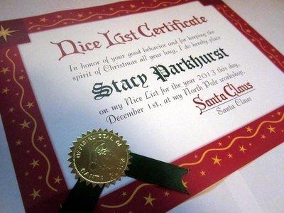 *Santa Claus Nice List Certificate