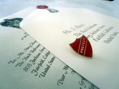 Wizarding School Prefect Letter with Pins / Badges