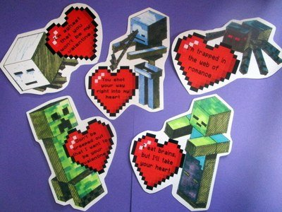 Valentines (set of 6) Building Block Video Game