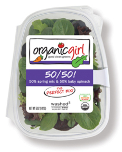 Organic Girl, 50% Spring Mix & 50% Baby Spinach
