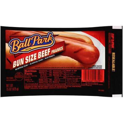 Ball Park Bun Size Beef Franks, Hotdogs 15 oz