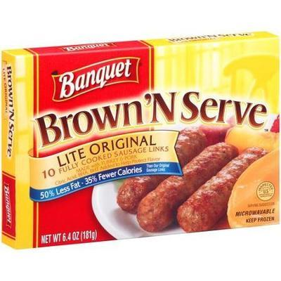 Banquet Brown 'N Serve Lite Original Sausage Links, 6.4oz, 10 count