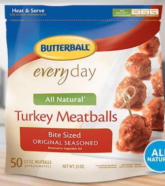 Butterball frozen turkey meatballs bite sized