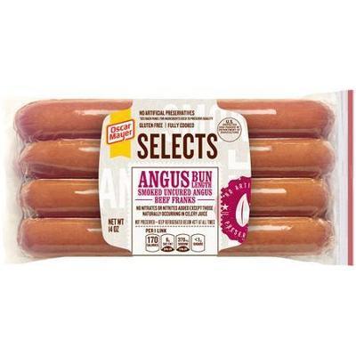 Oscar Mayer Hot Dogs Selects Angus Beef Bun Length 8 Ct Franks, 16 Oz