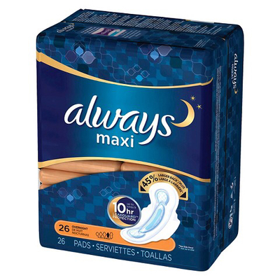 Always maxi pads overnight 26 pk