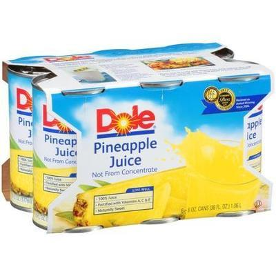 Dole 100% Pineapple Juice, 6pk