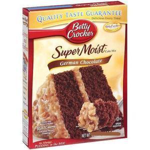 Betty Crocker Supermoist Cake Mix, German Chocolate, 15.25-Ounce Boxes