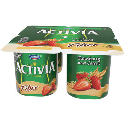 Activia Fiber: Strawberry & Cereal 4 Oz Lowfat Yogurt, 4 Ct