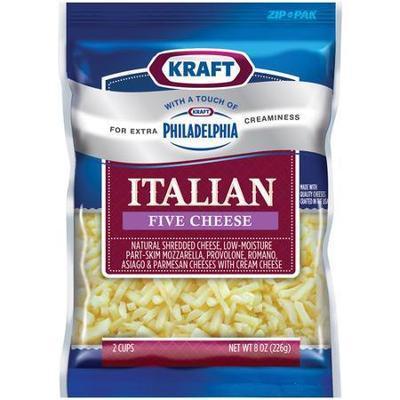 Kraft Natural Cheese: Italian Style Five Cheese Shredded Shredded Cheese, 8 Oz