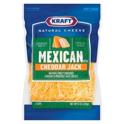 Kraft Natural Cheese: Cheddar Jack Finely Shredded Mexican Style Shredded Cheese, 8 Oz
