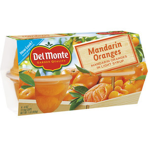 Del Monte Mandarin Orange In Light Syrup, 4pk