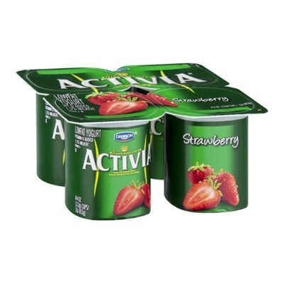 Activia Strawberry Lowfat Yogurt, 4ct