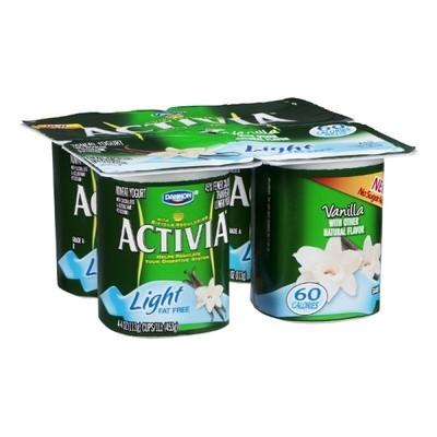 Activia Vanilla Light Fat Free Yogurt, 4ct