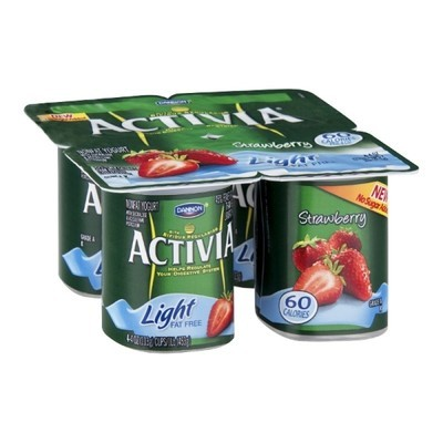 Activia Light Fat Free Strawberry Yogurt, 4ct